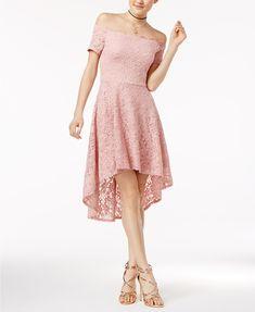 City Studios Juniors' Off-The-Shoulder Fit & Flare Dress Juniors - Dresses - Macy's Girls Evening Dresses, Dresses For Teens, Sexy Dresses, Dresses Online, Formal Dresses, Pink Dresses, Elegant Dresses, Casual Dresses, Lace Dresses
