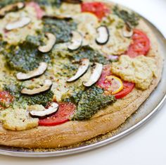 "Sounds so good :-) Pesto Cashew Ricotta Vegan Pizza. with homemade lemon garlic vegan ""ricotta cheese. Vegan Pizza Recipe, Pizza Recipes, Whole Food Recipes, Vegetarian Recipes, Cooking Recipes, Healthy Recipes, Party Recipes, Kale Recipes, Cooking Tips"