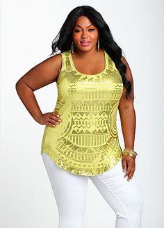 Curvy Girl Fashion -  Ashley Stewart: Print Knit Tank