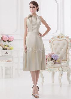 Sheath Silver Satin Floral Knee-Length Women's Cocktail Dress - Milanoo.com