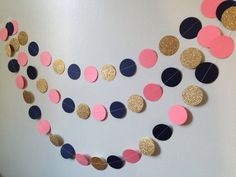Gold glitter pink/coral navy blue 10 ft. circle by SewBotGirl