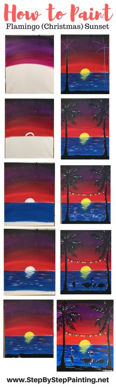 Learn how to paint a Flamingo Christmas Sunset with Tracie's Step By Step Acrylic Canvas Painting Tutorials! Easy, Simple & Fun for Beginners!