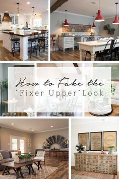 "Wouldn't it be great if you had Joanna Gaines style? Lots of white, real wood furniture and rustic elements bring warmth to a home. This post will show you how to fake the ""Fixer Upper"" Look with tips on how to achieve this in your home Style At Home, Home And Deco, Farmhouse Decor, Farmhouse Style, Modern Farmhouse, Farmhouse Design, Vintage Farmhouse, Rustic Decor, Home Fashion"