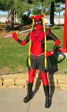 My Sailor Deadpool cosplay. I'm still planning on adding some things to it Sailor Deadpool Deadpool Painting, Deadpool Fan Art, Deadpool Funny, Deadpool And Spiderman, Lady Deadpool, Deadpool Movie, Deadpool Facts, Deadpool Symbol, Deadpool Cake