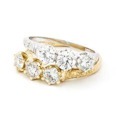 Ludlow three-stone rings in 14k gold with 0.88 ct. t.w. diamonds, $3,640 apiece, by Bernard Nacht