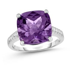 Zales 10.0mm Amethyst Half-Bezel Set Ring in Sterling Silver teoS217hKB