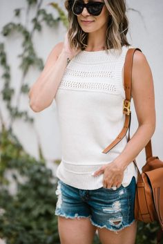 Summer Style: Sweater Tank + Cut Offs (And A Major LOFT Sale)   my kind of sweet   casual summer style   outfit idea   postpartum   mom style   body after baby