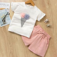 Girls Print Ice-cream Ruffles Sleeves T-shirt and Pink Shorts Two-Piece Outfit Toddler Girl Outfits, Baby Outfits Newborn, Baby & Toddler Clothing, Kids Outfits, Summer Outfits, Children Clothes, Bow Shorts, T Shirt And Shorts, Pink Shorts