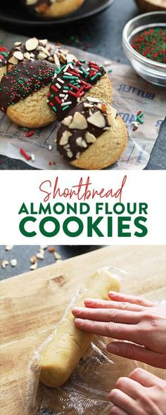 ) - Fit Foodie Finds Add these Shortbread Almond Flour Cookies to the menu for your next get together! These shortbread cookies are buttery, gluten free, and easy to whip up in no time. Keto Cookies, Cookies Gluten Free, Gluten Free Christmas Cookies, Almond Shortbread Cookies, Almond Flour Cookies, Baking With Almond Flour, Almond Flour Recipes, Healthy Cookies, Gluten Free Baking