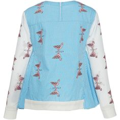 Rahul Mishra     Crane Gingham Jumper (25 655 UAH) ❤ liked on Polyvore featuring tops, sweaters, blue crew neck sweater, crew-neck sweaters, bird print top, long sleeve sweater and blue top