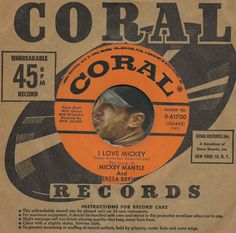 TERESA BREWER MICKEY MANTLE I Love Mickey BASEBALL SPORTS 45 RPM RECORDVG++