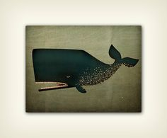 The+Barnacle+Whale+illustration+on+CANVAS+panel+by+nativevermont,+$69.00