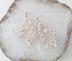 Rose gold Cubic Zirconia Hoop Bridal earrings are Or Rose, Rose Gold, Statement Earrings, Hoop Earrings, Fashion Design Sketchbook, Gold Bridal Earrings, Bride Look, Jewelry Box, Jewellery