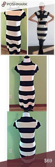 "Club Monaco Cashmere Wide Striped Sweater Dress Gorgeous 100% Cashmere sweater dress (as seen on Olivia Palermo) by Club Monaco. Featuring black and white wide striped and a mock neck, this dress measures 16"" across the bust; length 37"". EUC Club Monaco Dresses"