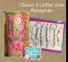 Free Shipping!! Classic Vine 3 Letter Monogram ~ Lilly Pulitzer Inspired Patterns ~ Solid Colors~ YETI decals ~ Car Decals by CrazyCritterBoutique on Etsy
