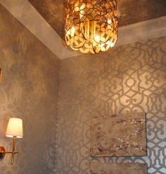 """Nashville Southern Living Showcase Home hand painted powder bath by Bella Tucker Decorative Finishes """"stenciled wall"""", """"silver leaf ceiling"""", """"morrocan stencil"""", """"chez sheik stencil"""", """"faux finish"""""""