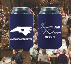 Add a classic touch to your wedding with our customized can coolers! Your wedding day wouldn't be nearly as much fun or memorable without all your loving friends and family who traveled near and far to celebrate with you!   Personalized Wedding Coolers  State Designs  Free by moonbeamsnpie