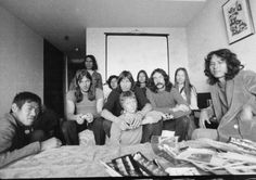 Pink Floyd in Japan circa 1970, 71 with fans at press meeting.