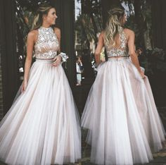 Sexy Two Piece Prom Dress High Neck Tulle with Rhinestone Dresses,Homecoming dress