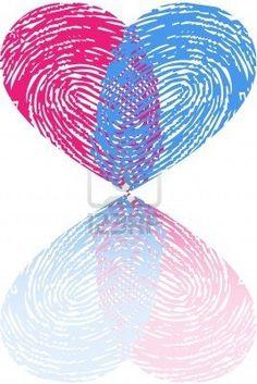 Boys fingerprint heart...green and blue