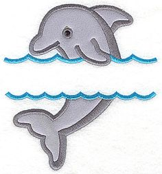 Dolphin in water large applique | Applique Machine Embroidery Design or Pattern