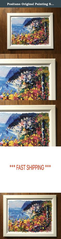 """Positano Original Painting Seascape Artwork Beach Wall Art Panorama Amalfi Coast Artwork Framed Wall Hanging Home Decor Living Room Gifts for Wife Women Her - Agostino Veroni. *****Please have in mind that it takes 5 to 7 days to finish the product and 3 days to ship it. You can be certain that your order will be in your hands within 10 days of purchase. ***** Original Artwork - One of a Kind - Title: Sunset Paper size: 12""""x16"""" Frame size: 14""""x18"""" inch Materials: Cotton Paper, Oil Colors…"""