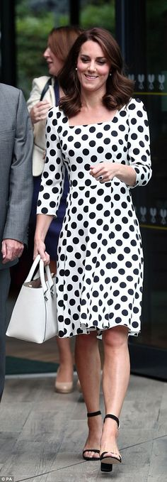 Kate Middleton radiant in a polka dot dress at Wimbledon | Daily Mail Online