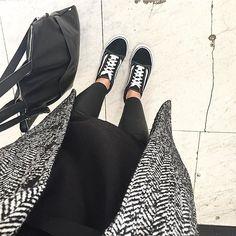 #Repost @kaviargauche   aka #muckeloutfit  now i'm waiting for hermes to arrive 'cause nobody can have enough coats right?! #coataddiction #blackwhite #blackandwhite #monkicoat #woolcoat #oversizecoat #vansoldskool #vansaddict #blackismyhappycolour #elektropulli #monki #monkistyle #leatherbag #leathertrousers #kleiderkreiselootd #instfashion #ootd