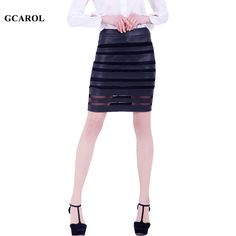 GCAROL Women Faux Leather And Organza Skirt Spliced Design OL Sexy Bud Skirt Spring Summer Autumn New Plus Size XL Skirt