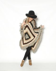 Vintage Afghan Crochet Chunky Kint Poncho by redpoppyvintageshop, $42.00