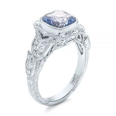 White Gold Custom Light Blue Sapphire And Diamond Engagement Ring – Floral Organic Engagement Rings – Elegant Organic Engagement Rings, Elegant Engagement Rings, Floral Engagement Ring, Solitaire Engagement, Ideal Cut Diamond, Halo Diamond, Diamond Cuts, Light Blue Sapphire, Unique Rings