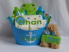 Personalized Baby Boy Gift Basket for Baby Shower. $45.00, via Etsy.