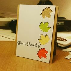 Lawn Fawn Thanksgiving card. Thankful mice. Stitched leaves die