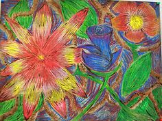 "Use regular drawing paper, and oil pastels. Once the drawings were done the kids covered it with black tempera. After ""washing"" off the tempera the kids used a paper clip (yup, a paper clip) to re-draw the flowers."