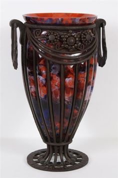 ANDRE DeLATTE ART GLASS VASE IN IRON MOUNT $1800