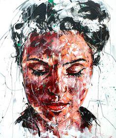 Lucile Callegari / T187 / Acrylique et fusain sur toile, 120x100cm, 2015.