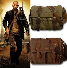 Men's Vintage Canvas Leather Satchel School Military Shoulder Bag Messenger Bag | eBay