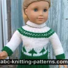 ABC Knitting Patterns - American Girl Doll Cuff-to-Cuff Cable Sweater