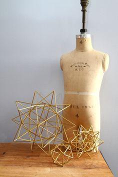Set of 3 Brass Pollen ball mobile - finnish himmeli sculpture -