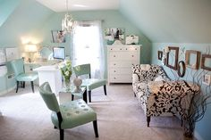 turquoise attic office living room. Homedit