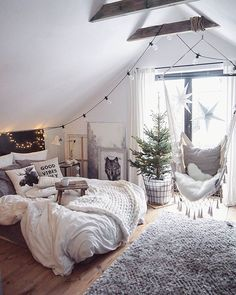 Scandinavian Bedroom Design Scandinavian style is one of the most popular styles of interior design. Although it will work in any room, especially well . Dream Rooms, Dream Bedroom, Home Bedroom, Modern Bedroom, Teen Bedroom, Contemporary Bedroom, Bedroom Chair, Hammock In Bedroom, Bedroom Neutral