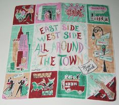"1950's Vintage Designer Carl Tait ""East Side West Side"" New York City Hankie"