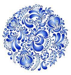 Gzhel  folk flower design vector - by Pazhyna on VectorStock®