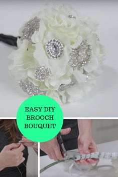 Make this diy brooch bouquet in a snap. Watch our brooch bouquet with flowers tutorial now. Diamond Wedding Theme, Bling Wedding, Rhinestone Wedding, Wedding Themes, Floral Wedding, Diy Wedding, Wedding Stuff, Wedding Ideas, Brooch Bouquet Tutorial