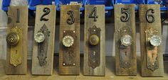 Rustic vintage antique door knob & skeleton key plate table numbers/centerpieces/wall hangings/home decor. $50.00, via Etsy.