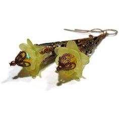 Lemon Drop Fairy Flower Earrings Antique by ShesABelleDesigns, $22.00