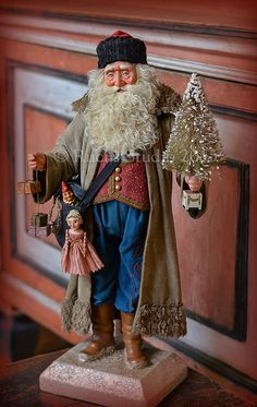 Original Santa dressed in antique textiles - created by Scott Smith of Rucus Studio © 2015 Christmas Past, Victorian Christmas, Father Christmas, Christmas Images, All Things Christmas, Vintage Christmas, Christmas Holidays, Christmas Crafts, Christmas Decorations
