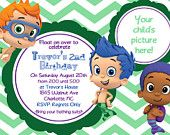 Bubble Guppy - Boys - Birthday Invite Card - Can be Personalized or Customized Invitation JPEG Printable Children Holiday. $6.50, via Etsy.