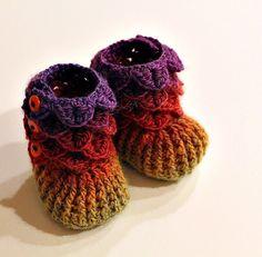 Crochet PATTERN Crocodile Stitch Booties Baby by bonitapatterns