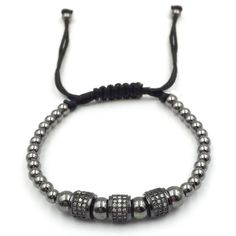 """""""Black Rhodium & Steel Beaded Men's Bracelet $180.00 A luxurious bracelet that will leave your friends envious, this stainless steel beaded bracelet features a rhodium plating overly and three exquisitely handcrafted black rhodium roundels."""""""